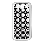 Modern Dots In Squares Mosaic Black White Samsung Galaxy S3 Back Case (White) Front