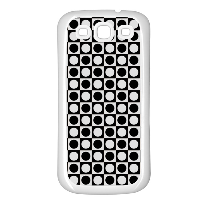 Modern Dots In Squares Mosaic Black White Samsung Galaxy S3 Back Case (White)