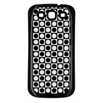 Modern Dots In Squares Mosaic Black White Samsung Galaxy S3 Back Case (Black) Front