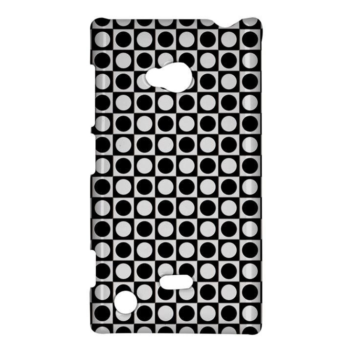 Modern Dots In Squares Mosaic Black White Nokia Lumia 720
