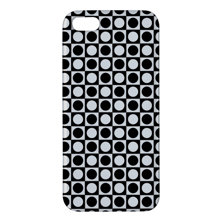 Modern Dots In Squares Mosaic Black White iPhone 5S/ SE Premium Hardshell Case