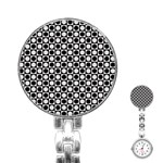 Modern Dots In Squares Mosaic Black White Stainless Steel Nurses Watch Front