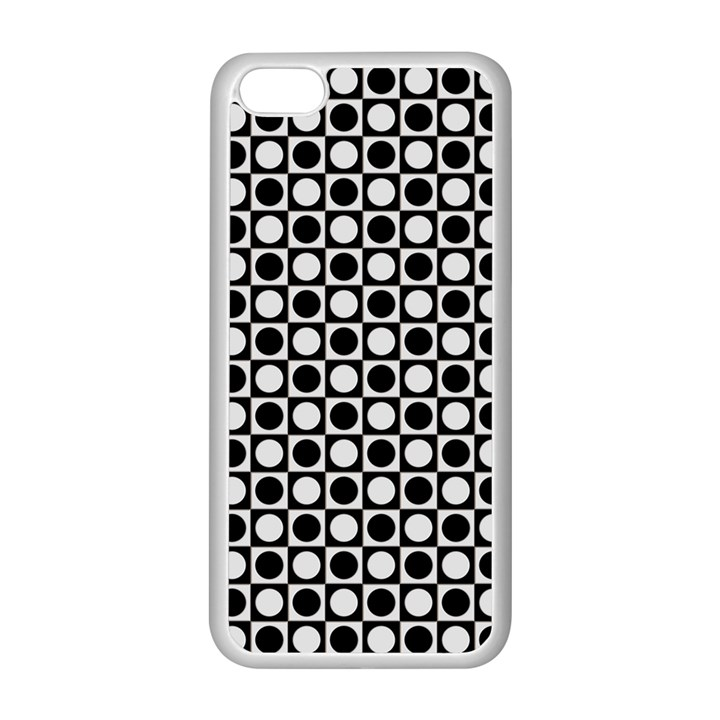 Modern Dots In Squares Mosaic Black White Apple iPhone 5C Seamless Case (White)