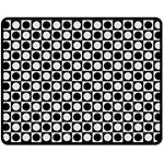 Modern Dots In Squares Mosaic Black White Double Sided Fleece Blanket (Medium)  60 x50 Blanket Back