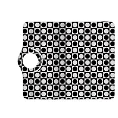 Modern Dots In Squares Mosaic Black White Kindle Fire Hdx 8 9  Flip 360 Case