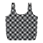 Modern Dots In Squares Mosaic Black White Full Print Recycle Bags (L)  Front