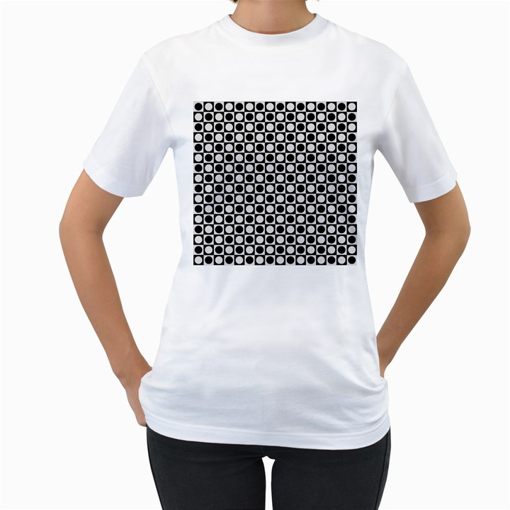 Modern Dots In Squares Mosaic Black White Women s T-Shirt (White)