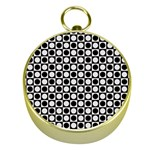 Modern Dots In Squares Mosaic Black White Gold Compasses Front