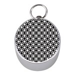 Modern Dots In Squares Mosaic Black White Mini Silver Compasses Front