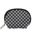 Modern Dots In Squares Mosaic Black White Accessory Pouches (Small)  Front