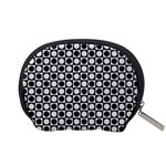 Modern Dots In Squares Mosaic Black White Accessory Pouches (Small)  Back