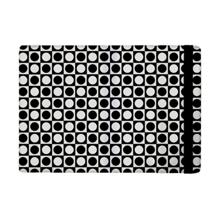 Modern Dots In Squares Mosaic Black White iPad Mini 2 Flip Cases