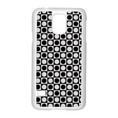 Modern Dots In Squares Mosaic Black White Samsung Galaxy S5 Case (White)