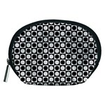 Modern Dots In Squares Mosaic Black White Accessory Pouches (Medium)  Front