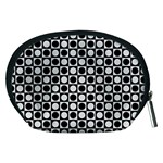 Modern Dots In Squares Mosaic Black White Accessory Pouches (Medium)  Back