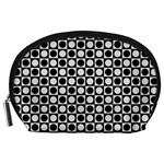 Modern Dots In Squares Mosaic Black White Accessory Pouches (Large)  Front