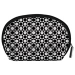 Modern Dots In Squares Mosaic Black White Accessory Pouches (Large)  Back
