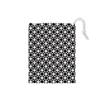 Modern Dots In Squares Mosaic Black White Drawstring Pouches (Small)  Front