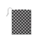 Modern Dots In Squares Mosaic Black White Drawstring Pouches (Small)  Back
