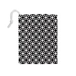 Modern Dots In Squares Mosaic Black White Drawstring Pouches (Medium)  Back