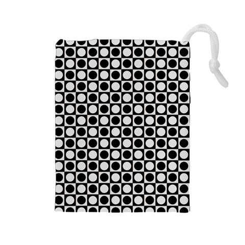 Modern Dots In Squares Mosaic Black White Drawstring Pouches (Large)