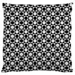 Modern Dots In Squares Mosaic Black White Large Flano Cushion Case (One Side) Front