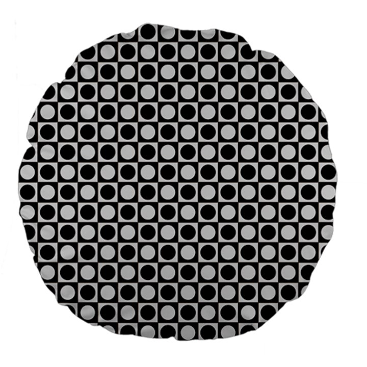 Modern Dots In Squares Mosaic Black White Large 18  Premium Flano Round Cushions