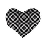 Modern Dots In Squares Mosaic Black White Standard 16  Premium Flano Heart Shape Cushions Back