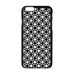 Modern Dots In Squares Mosaic Black White Apple Iphone 6/6s Black Enamel Case