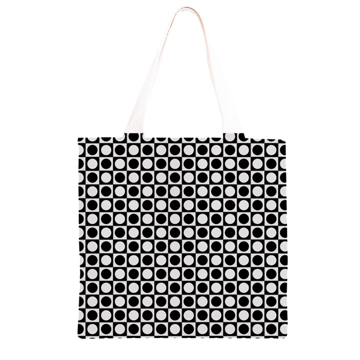 Modern Dots In Squares Mosaic Black White Grocery Light Tote Bag