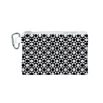 Modern Dots In Squares Mosaic Black White Canvas Cosmetic Bag (S) Front