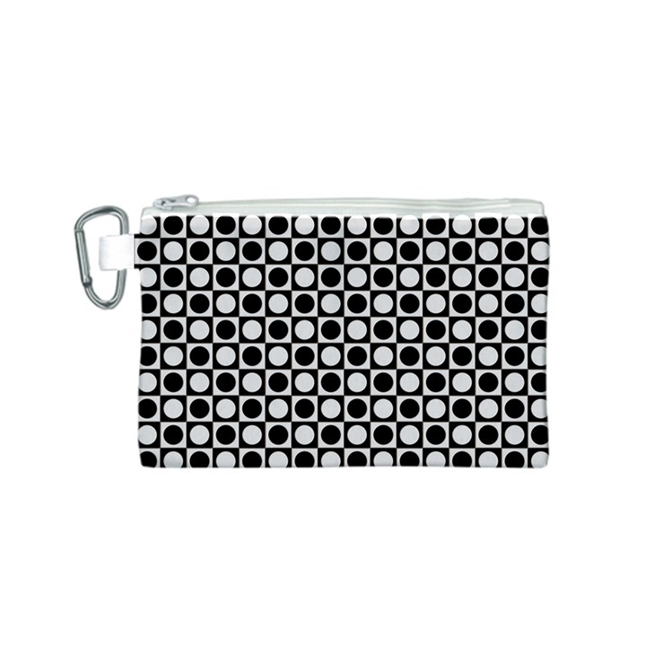 Modern Dots In Squares Mosaic Black White Canvas Cosmetic Bag (S)