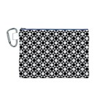 Modern Dots In Squares Mosaic Black White Canvas Cosmetic Bag (M) Front