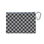 Modern Dots In Squares Mosaic Black White Canvas Cosmetic Bag (M) Back