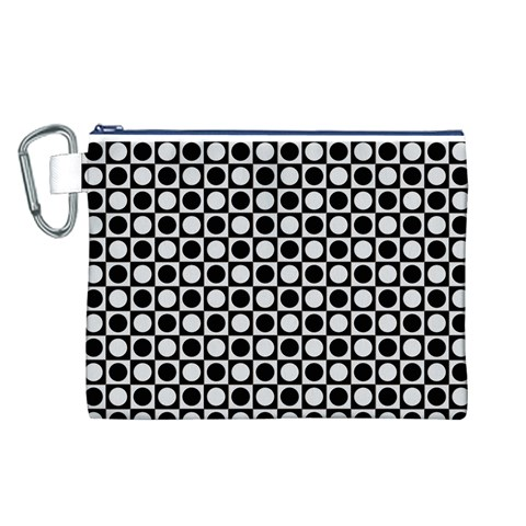 Modern Dots In Squares Mosaic Black White Canvas Cosmetic Bag (L)