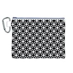 Modern Dots In Squares Mosaic Black White Canvas Cosmetic Bag (L) Front