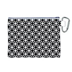 Modern Dots In Squares Mosaic Black White Canvas Cosmetic Bag (L) Back