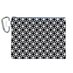 Modern Dots In Squares Mosaic Black White Canvas Cosmetic Bag (XL)