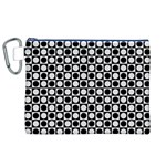 Modern Dots In Squares Mosaic Black White Canvas Cosmetic Bag (XL) Front