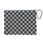 Modern Dots In Squares Mosaic Black White Canvas Cosmetic Bag (XL) Back