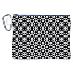 Modern Dots In Squares Mosaic Black White Canvas Cosmetic Bag (XXL) Front