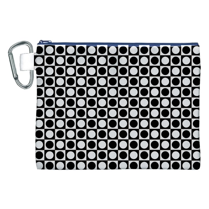 Modern Dots In Squares Mosaic Black White Canvas Cosmetic Bag (XXL)