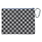 Modern Dots In Squares Mosaic Black White Canvas Cosmetic Bag (XXL) Back