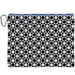 Modern Dots In Squares Mosaic Black White Canvas Cosmetic Bag (XXXL) Front