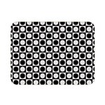Modern Dots In Squares Mosaic Black White Double Sided Flano Blanket (Mini)  35 x27 Blanket Back