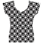 Modern Dots In Squares Mosaic Black White Women s V-Neck Cap Sleeve Top Front