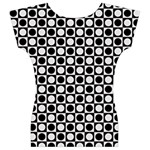 Modern Dots In Squares Mosaic Black White Women s V-Neck Cap Sleeve Top Back