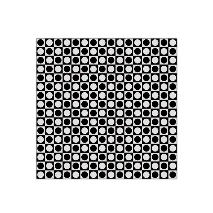 Modern Dots In Squares Mosaic Black White Satin Bandana Scarf