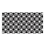 Modern Dots In Squares Mosaic Black White Satin Shawl Front