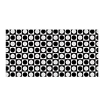 Modern Dots In Squares Mosaic Black White Satin Wrap Front